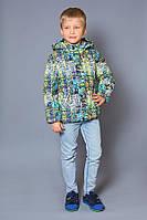 """Утепленная куртка-жилетка 2 в 1 на мальчика 4-8 лет (Р. 110-128, плащевка, п/э, PolyTex) ТМ """"Модный карапуз"""" 03-00656-2"""