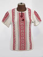 Женская вязаная вышиванка с коротким рукавом и красным узором