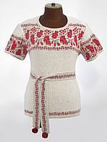 Женская вязаная рубашка с коротким рукавом и красным узором