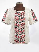 Красивая женская вязаная вышиванка с коротким рукавом