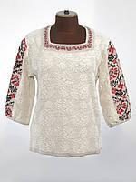 Женская вязаная вышиванка с коротким рукавом и цветочным узором