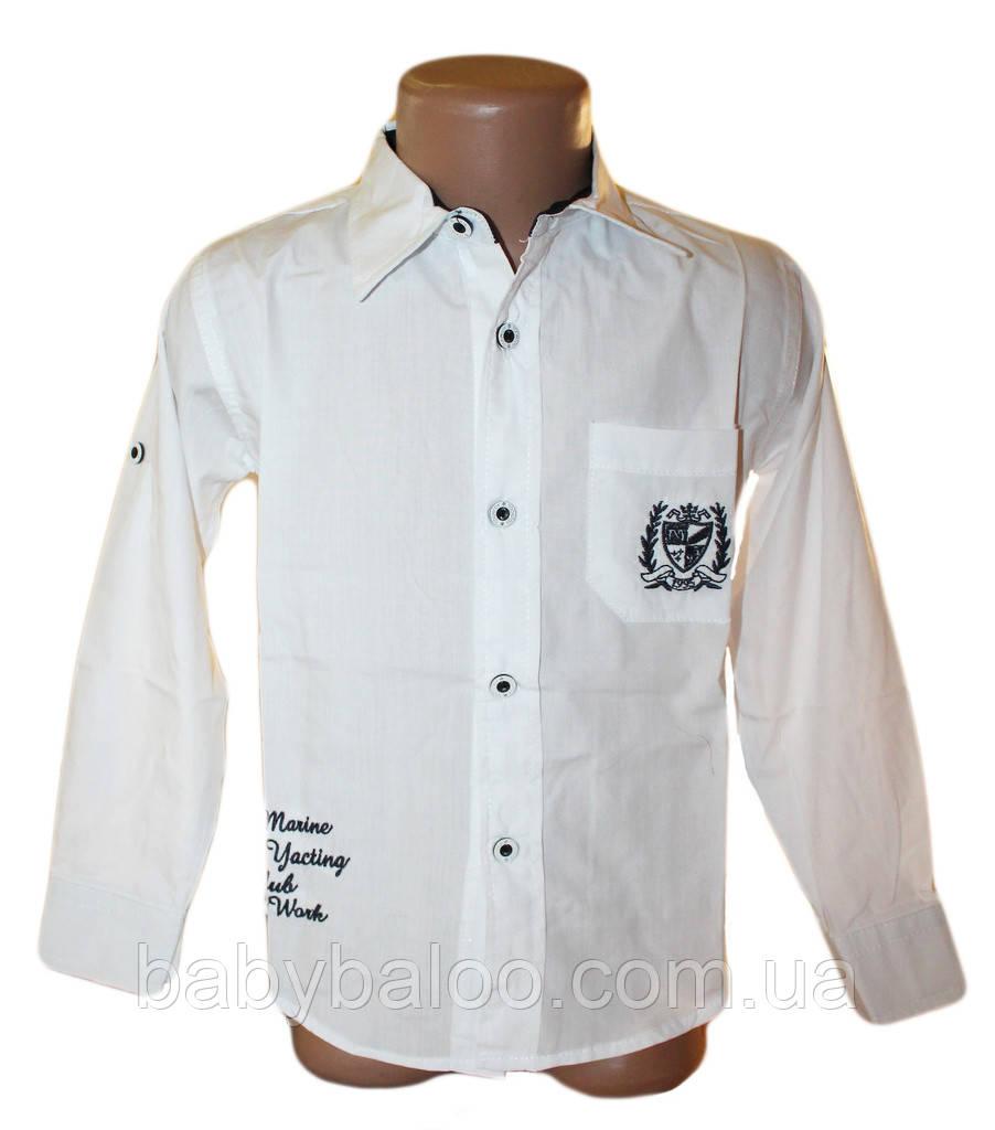 Рубашка юниор белая эмблема 100% хлопок (от 6 до 12 лет)