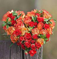 Букет невесты в форме сердца.