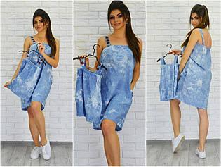 Легкое джинсовое детское платье на бретелях с пуговицами, серия мама и дочка