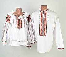 Біла чоловіча вишиванка на довгий рукав з оранжевим орнаментом ручної роботи 67670e98decd3