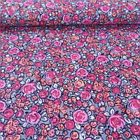 Ткань с мелкими розовыми и оранжевыми бутонами, фото 1