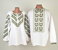 Пара вишиванок білого кольору з зеленим орнаментом ручної роботи, фото 1