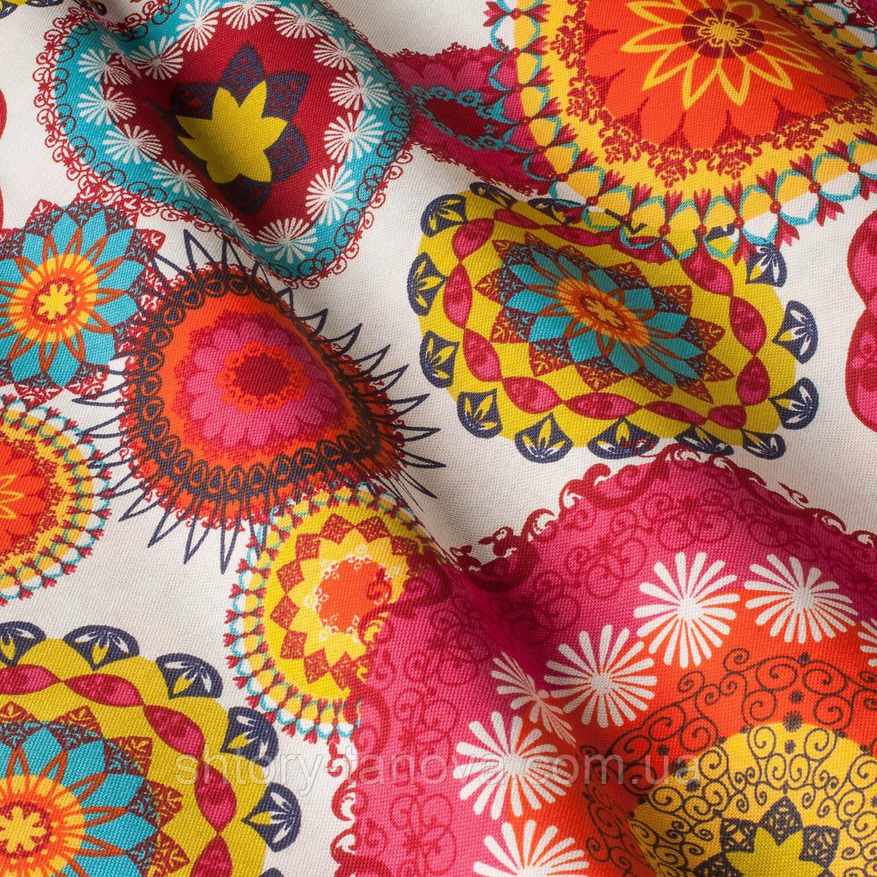 Декоративная ткань принт абстракция бело-розовые оттенки