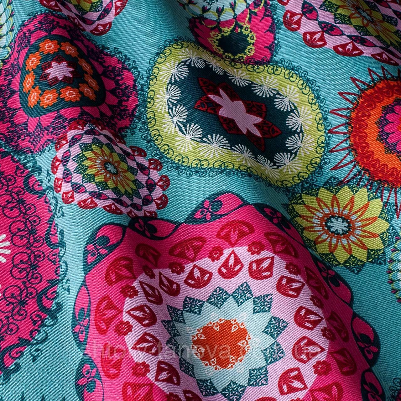 Декоративна тканина принт абстракція синьо-рожеві відтінки
