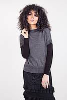 Лаконичный джемпер-жилет свободного силуэта серого цвета, фото 1