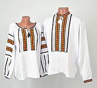 Пара вишиванок білого кольору з оранжево-зеленим орнаментом ручної роботи, фото 1