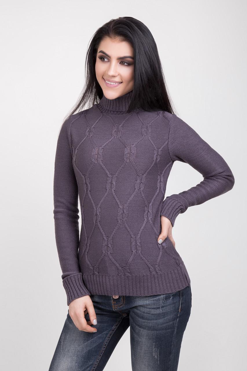 Классический женский свитер дымчатого цвета
