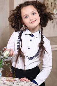 Распродажа! Белая блуза рубашка с защипами и кружевом девочкам в школу, школьная форма