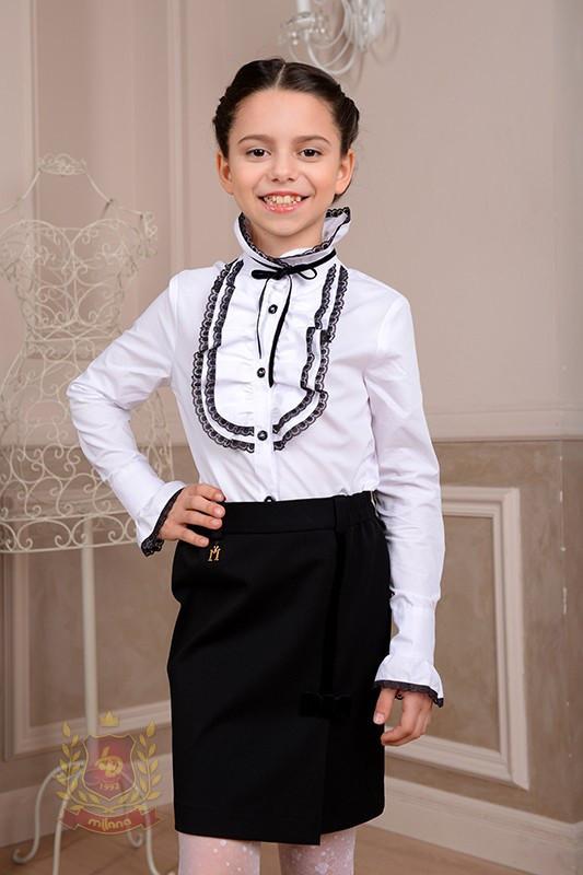 4e5cb0c4c77 Купить сейчас - Белая блуза рубашка с жабо с длинным рукавом в школу ...