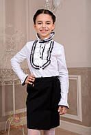 Белая блуза рубашка с жабо с длинным рукавом в школу 158