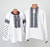 Пара вишиванок білого кольору з чорним орнаментом ручної роботи