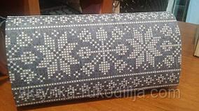 Пошитий клатч (Ukrainian boho) для вишивання тканина льон 100% (світло-джинсовий)