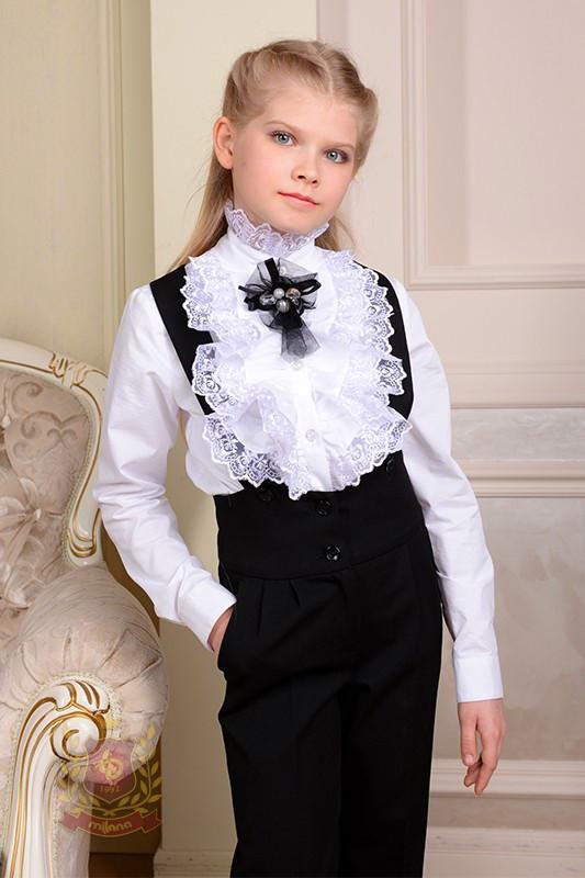 f3c662332d5 Белая блуза рубашка двойным жабо с длинным рукавом в школу школьная форма  р.116 -