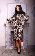 Трикотажное платье с кожаной вставкой 147к (р.42-44)
