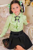Салатовая блуза рубашка жабо с длинным рукавом в школу девочкам школьная форма