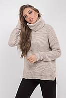 Уютный демисезонный женский свитер цвета лен, фото 1