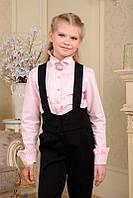 Розовая блуза рубашка с воротником стойкой с длинным рукавом в школу 152