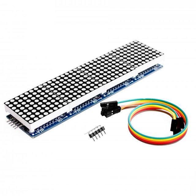 Светодиодная матрица. Матричный модуль MAX7219. 4 сегмента 8х8