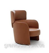 Круглое кожаное кресло для отдыха с высокой спинкой CLAIRE фабрика Ditre Italia (Италия)