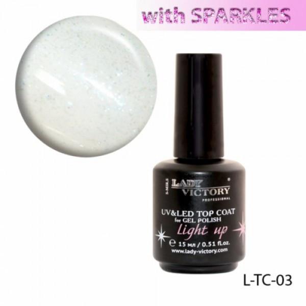 Верхнее покрытие с неоновыми блестками «Light up» Lady Victory 15 ml