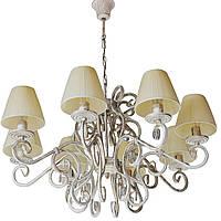 Люстра кованая Версаль 8 ламп Бежевый с золотом, с абажуром