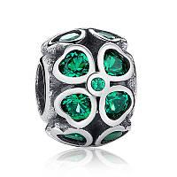 Серебряный шарм Пандора (Pandora) зеленый клевер на удачу