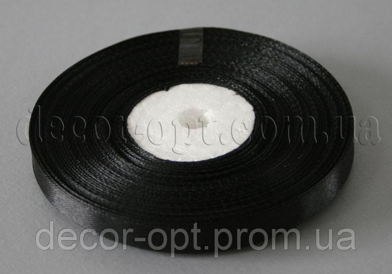 Лента атласная черная 0,9 см 36ярд 39