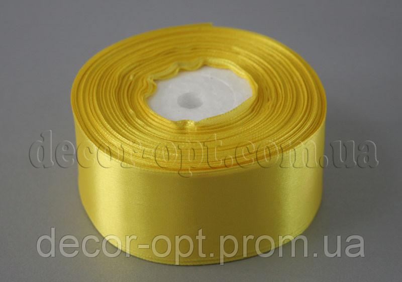 Лента атласная желтая 4,00 см 36ярд 15