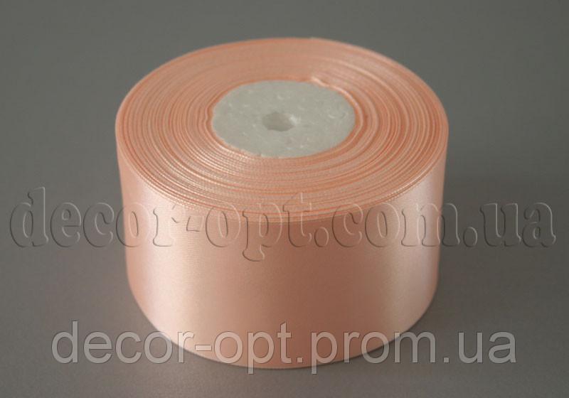 Лента атласная персиковая 5,00 см 36ярд 07