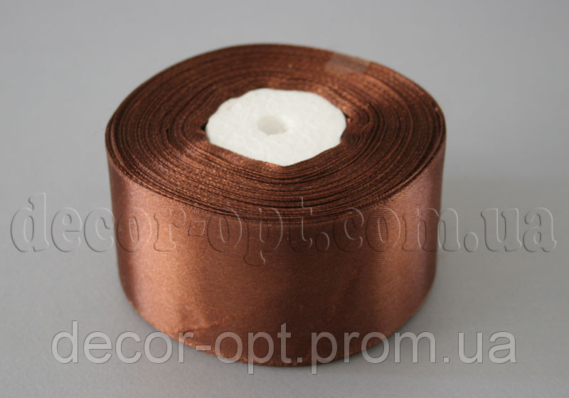 Лента атласная коричневая 5,00 см 36ярд 32