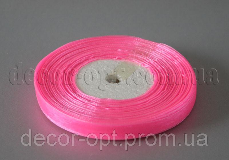 Лента органза розовая 1 см 50ярд 05