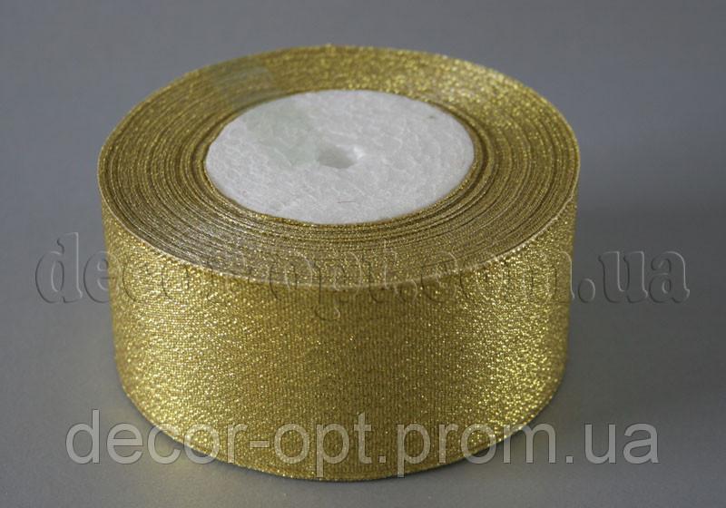 Лента парча золото 4 см 25ярд