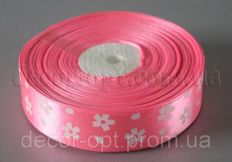 Стрічка атласна рожева з великими квітками 2,5 см 50 м