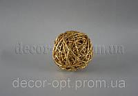 Шарик золото из ротанга 6 см