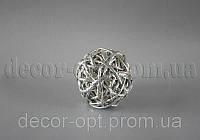 Шарик серебро из ротанга 6 см