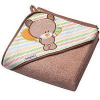 Полотенце с капюшоном BabyOno Frotte 76x76 см Медведь Коричневый (141/05)