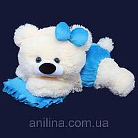 Мишка-Малышка 45 см бело-голубая
