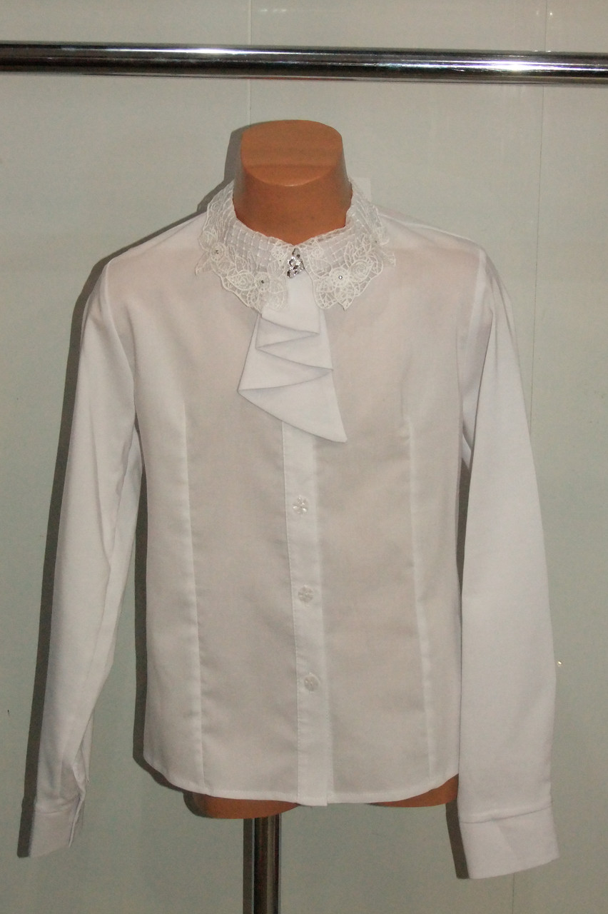 Блузка на девочку 140,146,158 р белая арт 2776 Польша.