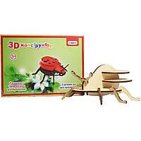3D деревянный конструктор Strateg Божья коровка (606)