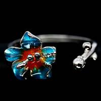 Кольцо с голубой ювелирной эмалью и фианитами (цветок) Размер 18.75