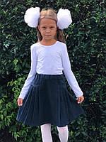 Школьная юбка плиссе  для девочки, синяя, Польша.