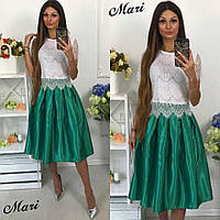 Женский костюм: блуза из кружева и юбка-солнце миди из атласа (6 цветов)