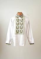 Топ продаж Біла чоловіча вишиванка на довгий рукав з зеленим орнаментом ручної  роботи c2fc583a6b02a