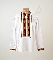 Топ продаж Біла чоловіча вишиванка на довгий рукав з оранжево-зеленим  орнаментом ручної роботи 473df8b20ab5e