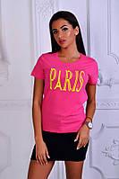 Женская футболка Париж розовая